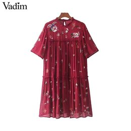 Chinese  Vadim sweet floral embroidery chiffon sequined dress pleated ruffled collar short sleeve mini dresses vestidos mujer QZ3275Y1882302 manufacturers