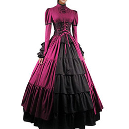 $enCountryForm.capitalKeyWord NZ - Women Bowknot Stand Collar Gothic Victorian Dress Costumes