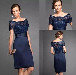 $enCountryForm.capitalKeyWord Canada - Dark Navy Sheath Knee Length Mother Of Bride Dresses 2019 Crew Neck Short Sleeves Lace Sequined Appliques Satin Mother Dress BC0299