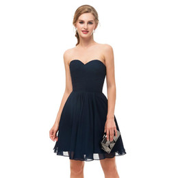 China 2018 Cheap Under 50$ Navy Blue Short Mini Homecoming Dresses Sweetheart Neck Zipper Back For Beach Bridesmaid Dresses Prom Gowns In Stock cheap maternity bridesmaid dresses for cheap suppliers