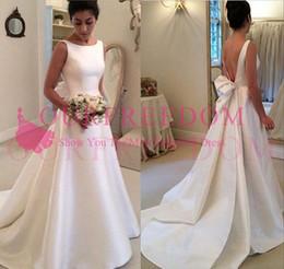 $enCountryForm.capitalKeyWord Australia - Vintage Backless Wedding Dresses 2019 Stain Boho Garden Jewel Neck Back Cover Bow Long Wedding Bridal Gown Custom Made Hot Sale
