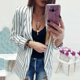 $enCountryForm.capitalKeyWord Canada - 2018 Women's Fashion Black White Striped Jackets Casual Long Sleeve Lapel Open Set Office Women's Blazers Plus Size