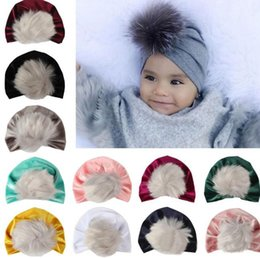 Fallen Hats Australia - 2018 kids fall winter hats christmas fur pom poms hat baby velvet beanies bonnet girls indians muslim turban skull cap 11colors