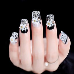 Art Bride NZ - 24pcs Set Black Race False Nails Middle Long Pre-design Flower Decal Bride Nail Art Tool Glue Sticker Artificial Fake Nails