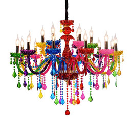 Crystal Cafe online shopping - Colorful Crystal Chandelier Bar Candle Crystal Lamp European Engineering Lamp Cafe Chandelier lampadari