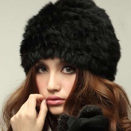 6bd5c674337 NEW Rabbit Fur Knitted Cap Ladies Knitting wool Fur Casual beanies caps  cute Girls cap winter thick warm hats Russian Style