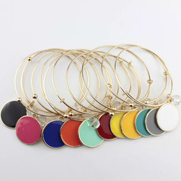 $enCountryForm.capitalKeyWord UK - 2018 Gold Tone Unique Initial Blanks Bangle Fashion Monogram Blanks Charm Bangles Enamel Flat Round Disc Engraved Bangle Bracelet Adjustable