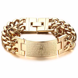 Chinese  Vintage Mens Silver Gold Stainless Steel Bracelet Bangle Spanish Bible Two Rows Christianity Wristband Bracelet Best Jewelry manufacturers