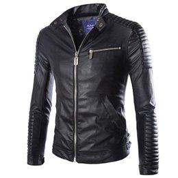 f35420e19 Otoño Invierno Chaqueta de Cuero de Lujo Pu para Hombres Chaqueta de  Motocicleta de Manga Larga Masculino Chaqueta Slim Fit Negro Blanco Veste  Cuir Homme M- ...