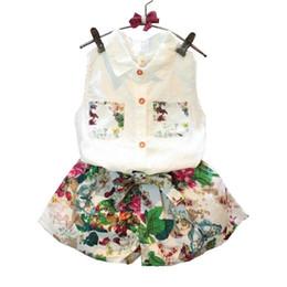 9f756cecc 2018 Summer Baby Girls Clothing Set blusa sin mangas + pantalones florales  2 piezas   set ropa de algodón para niños Set 2-8 años KF990