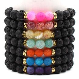 Discount oil bracelets - New 8mm Natural Black Lava Rock Stone Beads Bangle DIY volcano Essential Oil Diffuser Bracelet for women men handmade Je