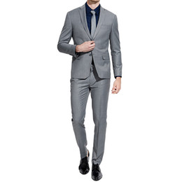 Chinese  Custom Made Grey Men Suits Groom Wedding Suits Smart Casual Male Tuxedos Slim Fit Best Man Blazers 2 Pieces Jacket Pants Costume Homme manufacturers