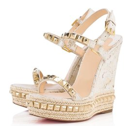 94c531ab28c9 Summer Super Gladiator Sandals Fashion Designer Women s Red Bottom Cataclou  Wedges Cork White Studs Ankle Strap Lady Wedge Wedding Party
