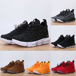 buy popular 97238 0f4eb 2018 New Kids Basketball Shoes Ashes Ghost LeBron 15 Red Black Lebrons Boys  Training Arrival Sports Sneakers 15s Trainer Shoe James With Box