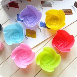 flower shaped silicone cupcake UK - Wholesale- 5 pcs set Colorful Muffin Cupcake Mold Heart Flower Five-Pointed Star Shape Silicone Muffin Cupcake Molds Baking Cake Moulds