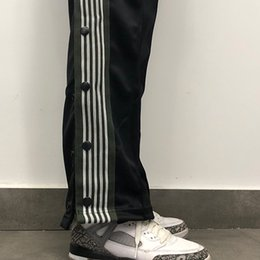 $enCountryForm.capitalKeyWord NZ - AWGE X NEEDLES ASAP ROCKY Black Button Pants Butterfly Embroidery Sweatpants Stripe Casual Trousers Couple Sports Pants Fashion HFLSKZ054