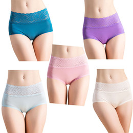 Knitting Lace Canada - 3 Pairs Woman's boxer Shapers 100% Knitting Silk panties High Waist Lace briefs regular underwear US size M L XL