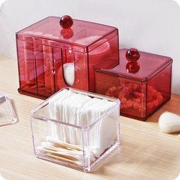 clear acrylic storage containers NZ - Acrylic makeup organizer with lid Clear Cotton Swabs holder Stick Storage box cosmetic containers plastic box case home decor