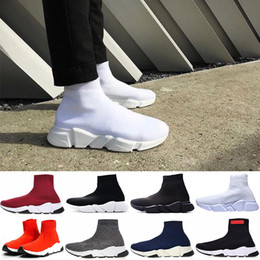 Women high White boots online shopping - Designer Sock Shoes Speed Trainer Mens Women Boots Triple Black White Red Blue Running Shoes Sock Race Runners Sports Luxury Shoes