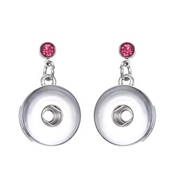 China Noosa Snap Button Earring Crystal Stud Earrings Snap Ear Jewelry DIY 18mm Snap Buttons Simple Earrings for Women suppliers
