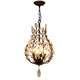 Crystal Heads NZ - K9 crystal chandelier light fixtures iron crystal pendant lights 4 heads black chandeliers home decor American village style E14 holder