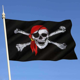 Pirates Party Decorations NZ - New Huge 3x5FT Skull and Cross Headband Crossbones Jolly Roger Pirate Flags Banners Home Bar Festive Party Decoration 1pc