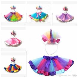 $enCountryForm.capitalKeyWord NZ - Unicorn Girls Tulle Skirts Pettiskirt kids Rainbow Tutu Dresses children Dancewear Ballet Skirts Ruffle Costume Mini Princess Dress YL364