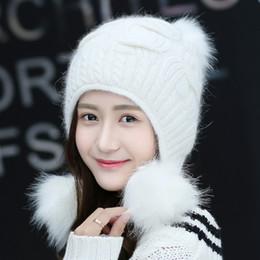 ccf2867b2dd97 Women Winter Cute Knitted Beanie Hat Woolen Faux Fur Thick Ball Pom Poms  Earflap Crochet Warm Soft Fashion Outdoor Hats Gifts