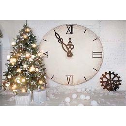 Discount vinyl backdrops bricks - White Brick Wall Photography Backdrops Vinyl Christmas Tree Printed Clock White Balloons Newborn Baby Kids Photo Backgro