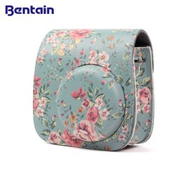 Camera Shoulder Strap Australia - Flower PU Leather Camera Bag Holder Pouch Protector Pocket for Instax Mini 8 8+ 9 Case Accessories with Shoulder Strap