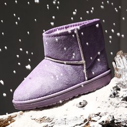 Ladies Flat Boots Shoes Canada - Cheap Girls Child Ladies Waterproof Cute Cotton Snow Boots Winter Warm Outdoor Plush Ankle Chelsea Boots Flat Slip-On Casual Shoes