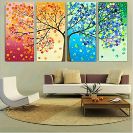 4 piece canvas art online shopping - HD Printed Poster Decor For Living Room Pieces Beautiful Colorful Four Seasons Tree Paintings Wall Art Modular Pictures Canvas