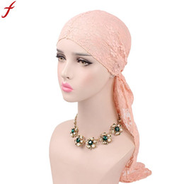 9d28fb8aeded8 Silk hatS online shopping - 2018 Summer womens Lace beanies Floral Muslim  Hat Stretch Retro Tied
