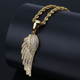 diamond feather necklace 2019 - Europe and the United States high explosive feather pendant, micro plated zircon plated genuine gold, men's hiphop