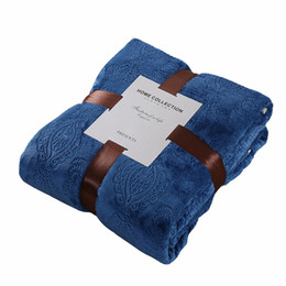 Sizes For Beds UK - Blue solid color fleece blanket for sofa bed multi-size home bedding adults flannel bedspread throw blanket for spring autumn