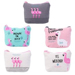 $enCountryForm.capitalKeyWord NZ - New Cute Flamingos Canvas Coin Purses Zipper Zero Wallet Child Girl Boy Women Purse Lady Coin Bag Key Packet