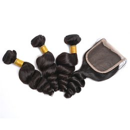 Cheap Natural Hair Wefts UK - Cheap 8A Indian Virgin Hair Extensions Loose Wave With 4x4 Lace Closure Peruvian Human Hair Bundles With Closure Wefts