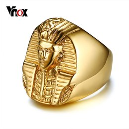Discount male gold rings - Vnox Pharaoh Shaped Rings for Men Gold Tone Stainless Steel Rock Punk Ancient Egypt Male Finger Ring Accessories