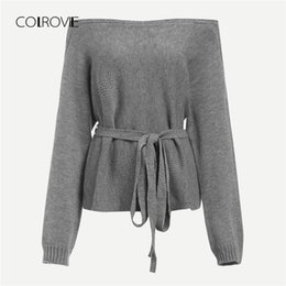 COLROVIE Grey Solid Knot Off Shoulder Belted Knitted Sweater Women 2018 New  Autumn Long Sleeve Elegant Loose Winter Jumper 72c0076a8