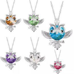 $enCountryForm.capitalKeyWord Australia - Blue Red CZ Crystal Owl Necklace Pendants Silver Chain Owl Pendant Necklaces Fashion Jewelry for Women Children Gift