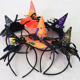 $enCountryForm.capitalKeyWord Australia - Halloween Witch Hat Headband Lace Bowknot Peaked cap Company School Kindergarten Halloween Party Show Prop Decorations Kids Hair Jewelry