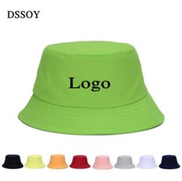 online shopping Plain Cotton Bucket Hats For Adults Mens Womens Fishing Caps Blank Summer Beach Fisherman Cap Welcome Custom Color Printing Embroidery Logo