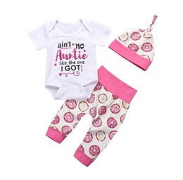 fadaa3bf23f6 INS 2018 cute Baby Girls Boys Outfits 3piece Set Cotton Romper Onesies  Jumpsuits + Donut Pants + hats - ain t no auntie like the one I got