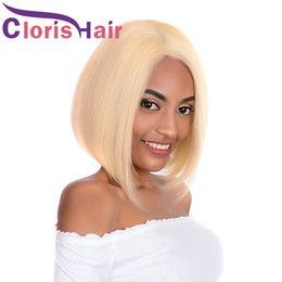 Discount platinum blonde wig human hair Blonde Bob Wigs Straight Virgin Peruvian Short Human Pixie Lace Front Hair Wigs 613 Platinum Blonde Perruque Lace Wigs F