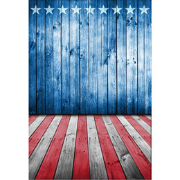 american flag paintings Australia - Blue Painted Wooden Wall White Stars American Flag Backdrop Baby Newborn Photography Props Kids Patriotic Backgrounds Wood Floor