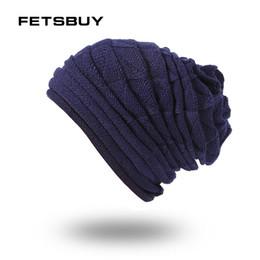 Discount balaclava knitting - FETSBUY Brand Cap Skull Gorros Balaclava Bonnet Beanie Fleece New Winter Hat Beanies Skullies Knitted hat Winter For Men