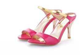 stiletto heels platform dress sandals 2019 - 2018 Big Size US4-12 Fashion High Heels Flips Gladiator Sandals For Women Open Toe Platform 4 Colors Sandals Summer Shoe