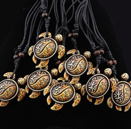 necklaces pendants Australia - Fashion men Sea turtle Pendant Necklace carving Imitation bone resin Wooden Bead Necklace You can adjust the size of the rope Necklace