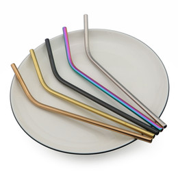 $enCountryForm.capitalKeyWord Canada - Wholesale Stainless Steel Drinking Straws Cleaner Brush Reusable Unfolded Bend Metal Straw Gold Black Kitchen Hot 215mm