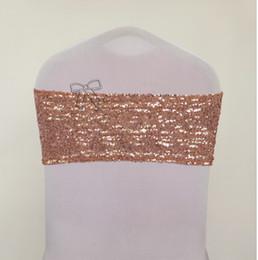 Pas cher prix Livraison gratuite 100 PCS Sequin chaise bande ROSE GOLD couleur chaise châssis en Solde